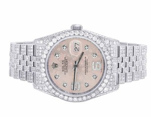 Rolex Mens/Ladies 116234 Datejust 36MM Pink Floral Dial Diamond Watch 13.5Ct