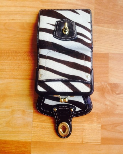 Coach Coach Legacy Turnlock French Wallet Zebra Print Calf Hair with Brown leather trim