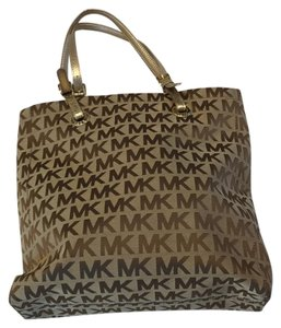 Michael Kors Gold Hardware Logo Canvas Tote