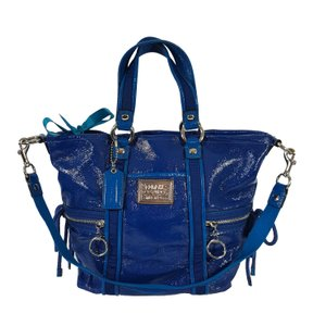 Coach Glossy Wet Patent Leather Very Rare Poppy Tote in Blue