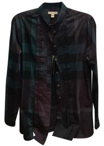Burberry Brit Button Down Shirt green purple multi