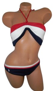 Ralph Lauren Multi Striped POLO Halter Bikini Size L