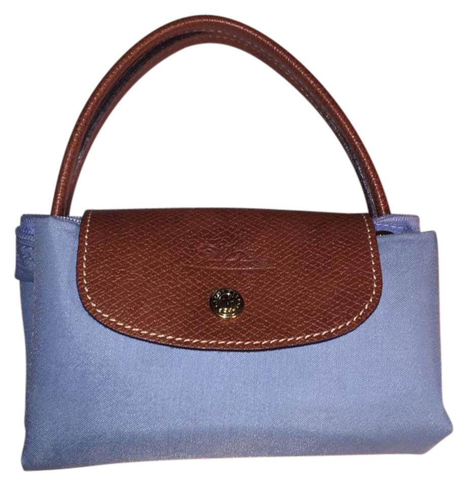 97af71e722f2 Longchamp Le Pliage Handbag Sky Blue Nylon   Leather Satchel - Tradesy