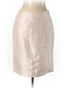Magaschoni Silk Linen Pencil Skirt Blush Pink