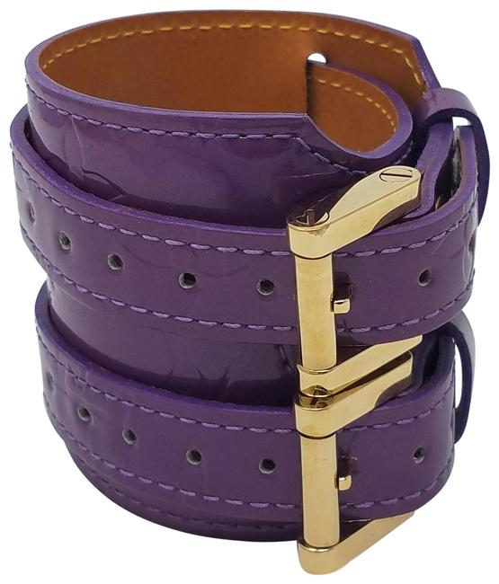 Item - Purple Gold Lv Monogram Vernis Leather Wide Cuff Bracelet