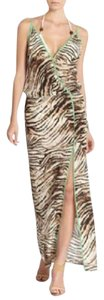 Bruce, brown with piping of green Maxi Dress by SOFIA by ViX