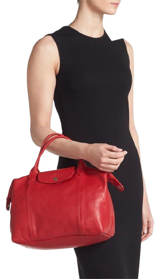 Longchamp Cherry Metis Le Pliage Cuir M Top Handle New Red Leather ... 6f88da9f58892