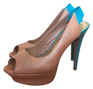 Jessica Simpson Nude and Turquoise Platforms