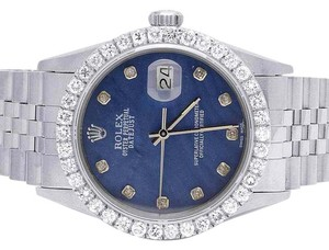 Rolex Datejust Quickset 16014 Oyster 36MM Blue MOP Dial Diamond Watch 3.5Ct