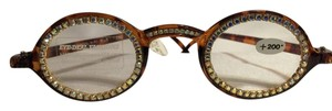 Pro Design Jeweled Faux-Tortoiseshell +2.0 Reading Glasses by Pro Design [ Roxanne Anjou Closet ]