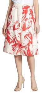 Classiques Entier A-line Silk Floral Full Skirt Red and white