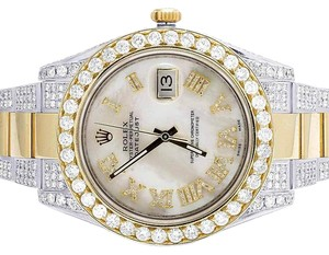 Rolex Datejust II 41MM 116333 18K Two Tone White MOP Diamond Watch 15.75 Ct