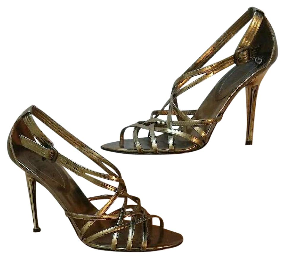 9fffff6a4ce7 Guess Gold Strappy Metallic High Heels Sandals Size US 7.5 Regular ...