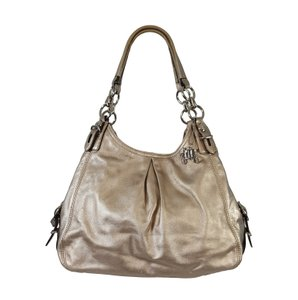 Coach Rare Maggie Mia Metallic Leather Satchel in Light Gold