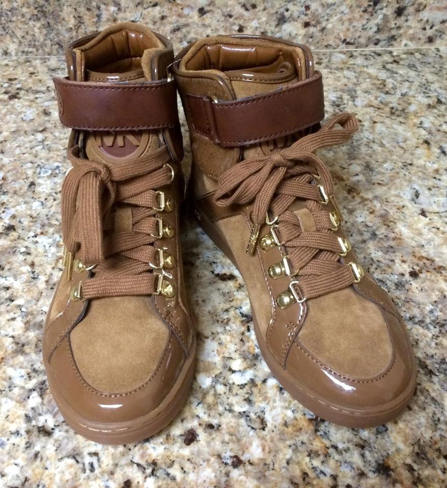 Michael Michael Kors Greenwich High Top Fashion Sneakers Michael Kors Brown Athletic