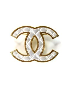 Chanel Chanel Silver/Gold Quilted CC Brooch Pin