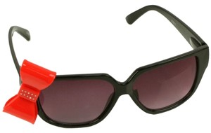 Playful Red 3D Ribbon Bow Smoke Lens Sunglasses Shades in All Black