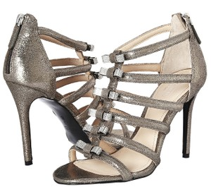Coach Leather Crystal Cage Gladiator Metallic Pumps