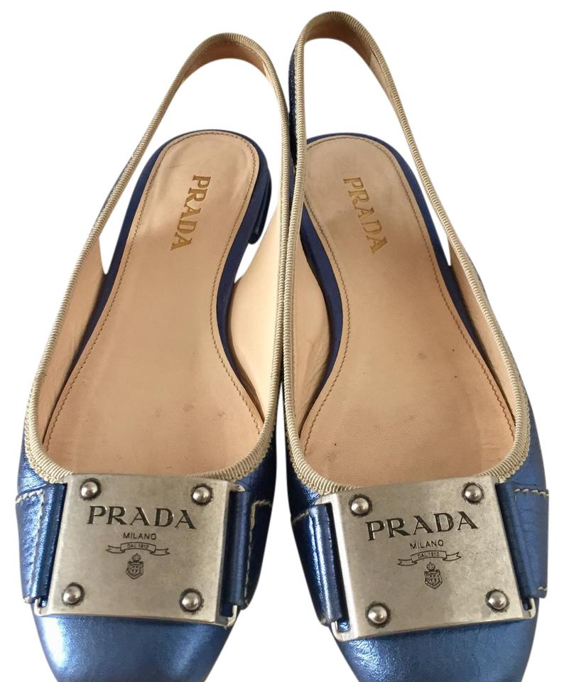 WOMEN Prada Metallic Blue price Slingback Flats price Blue concessions db807a