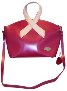 Beijo Limited Edition Breast Cancer Awareness Ribbon Cruelty Free Pearlescent Detachable Shoulder Strap Stainless Steel Feet Tote in Fuchsia and Pink