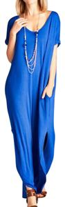 blue Maxi Dress by Other Short Sleeve Maxi With Pockets Side Slits V Neck Comfy Long Summer Maxi
