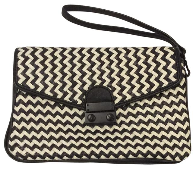 Item - Clutch Milan Woven Black and White Leather Wristlet