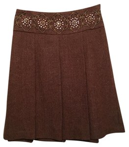 7e6a4c2795 Ann Taylor LOFT Wool Beaded Embellished Embroidered Skirt Wine and tan