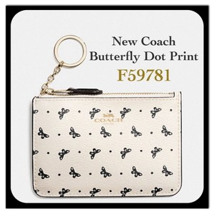 Coach BUTTERFLY DOT ZIPPER KEY POUCH NWT