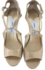 Jimmy Choo Classic Patent Leather Strappy Like-new Nude Wedges