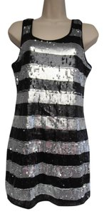Romeo & Juliet Couture short dress black and silver Striped Glitter Pull Over Stretchy on Tradesy