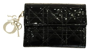 Dior Black Patent Cannage Wallet