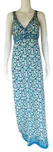 Teal, White Maxi Dress by Max Studio Teal Maxi Empire Waist Slinky Sleeveless