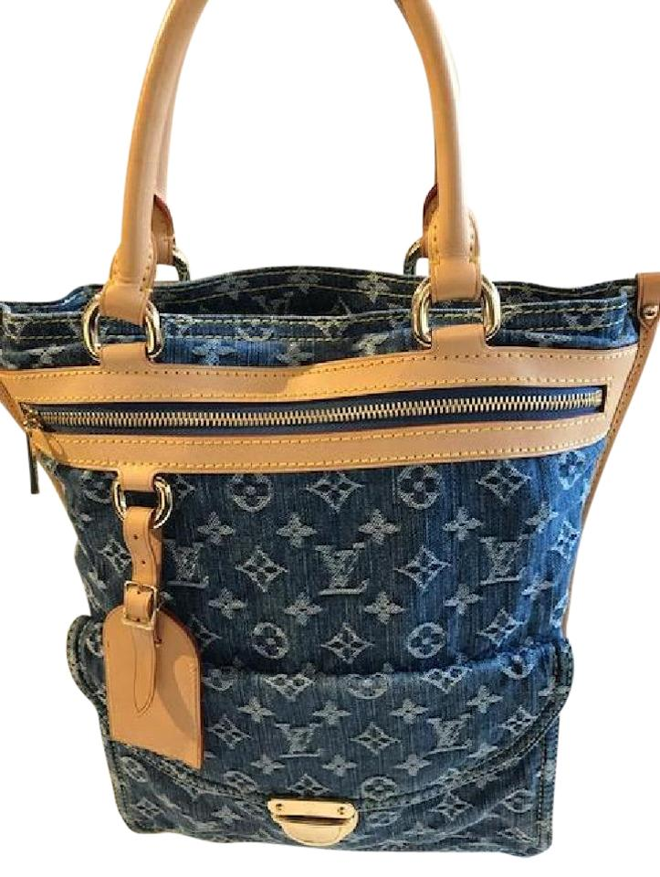 louis vuitton denim sac plat blue tote bag on sale 32 off totes on sale. Black Bedroom Furniture Sets. Home Design Ideas