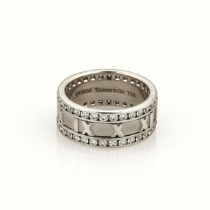 Tiffany & Co. 1.50ct Diamond Atlas Roman Numeral 8.5mm 18k Gold Band Ring Size 7