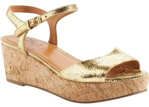 Tory Burch gold crackle wedge Sandals