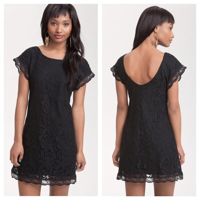 Item - Black Floral Cap Sleeve Scoop Short Night Out Dress Size 4 (S)