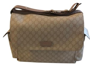 Gucci Gg Web Tan Diaper Bag