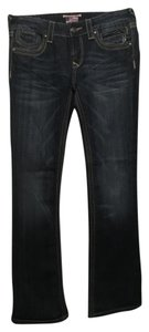 Express Embroidered Boot Cut Jeans-Dark Rinse