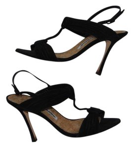 Manolo Blahnik Black Suede Stiletto Sandals