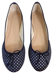 J.Crew navy with silver polka dots Flats