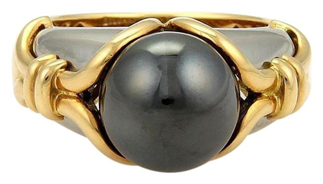 Item - Yellow Gold & Grey 18k Stainless Steel Hematite Size 5.5 Ring