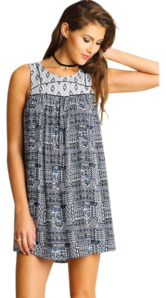 63fc3d16c28b6 Umgee short dress blue white Boho Aztec Shift Summer Sleeveless Beach Beach  Vacation Summer Clothing on ...