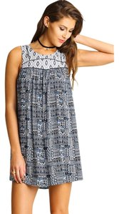 Umgee short dress blue white Boho Aztec Shift Sleeveless Blue Beach Beach Vacation Clothing on Tradesy