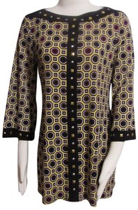 Style & Co Geometric Pattern Silk & Stretchy & Jeweled Tunic