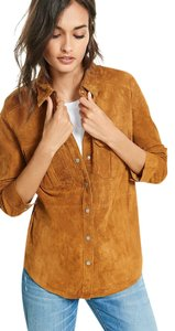 Express Suede Fitted Button Down Shirt Camel