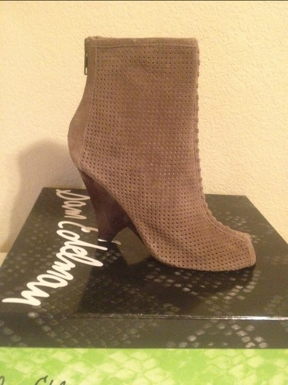 Sam Edelman Peep Toe Suede Perforated Wedge Stone Brown Boots