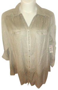 Style & Co Career Dressy Plus-size Stretchy Fashionable Button Down Shirt Goldish-Tan and White