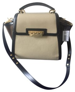 Zac Posen Classic Leather Gold Hardware Designer Runway Shoulder Bag