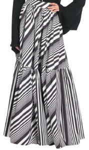 TOV Holy Pleated Multicolor Striped Maxi Skirt black