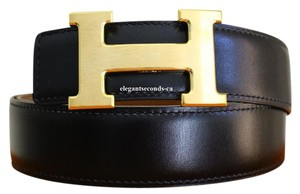 Herms Black and Cognac Reversible Brushed 32mm Constance Belt